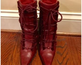 Burgundy Maroon Wine Red Shearling fur lace up booties ankle boots 6