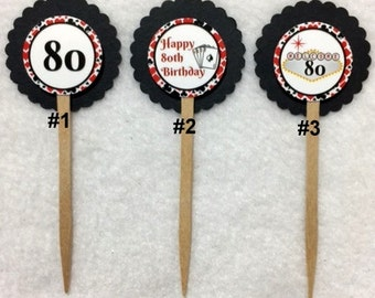 Set Of 12 Personalized 80th Poker Birthday Party  Cupcake Toppers (Your Choice Of Any 12)