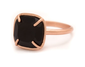 Onyx in Rose Gold Gemstone Ring - Rose Gold Ring - Square Cushion Cut  - Gemstone Ring - Sizes  5, 6, 7, 8, 9, 10