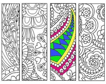 Bookmarks Coloring Printable, scaleable PDF file super quality, Instant Download. 58v.