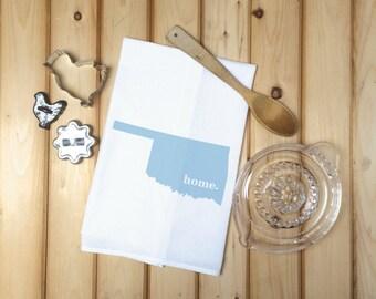 Oklahoma State Flour Sack Towel, Oklahoma State Tea Towel, Flour Sack Tea Towel, Housewarming Gift, Wedding Gift, Real Estate Gift, Map Art