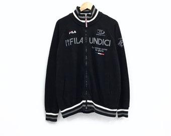 Rare!!Vintage Fila Undici Italy Sweatshirt Spellout Big logo Pullover Jumper hiphop streetwear sportswear vintage men clothing
