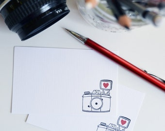 stocking stuffer Set of 24 Camera Mini Cards, Illustration, Mini Note cards, Vintage Camera, I heart photography, 2.75 x 4.25 inches