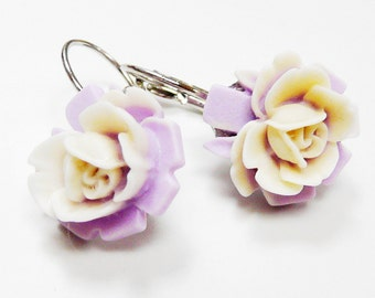 Cream Purple Earrings Leverback Flower Earrings with a Cream Lily on a Purple leaf Two Tone Water Lily Flower Closed Earrings