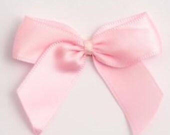 12 Satin Bows - Baby/Pale Pink