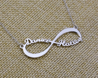 Personalized Infinity Necklace,Custom Infinity Charm,Nameplate Necklace,Two Names Necklace,Christmas Gift N060