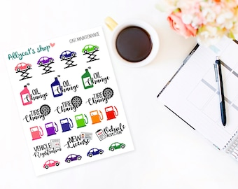 Car Maintenance Stickers - Planner Stickers