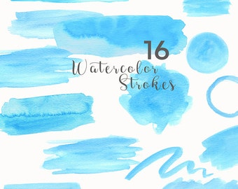 Watercolor Strokes Clip Art, Watercolor Splotches Overlay, Hand-drawn Watercolor Clip Art, PNG Blue Strokes Graphics, Blog header graphics