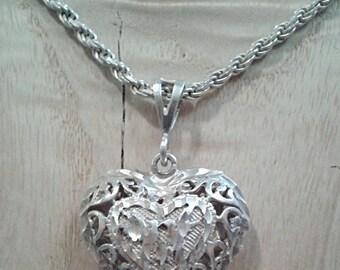 "Vintage Kissing Lovebirds Sterling Silver Heart Pendant w/ 31"" Long 3mm Milor Italy Chain Reversible Filigree Swirl Cutout Design Shine Puff"