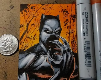 Black Panther Sketch Card Original Art by Hutch