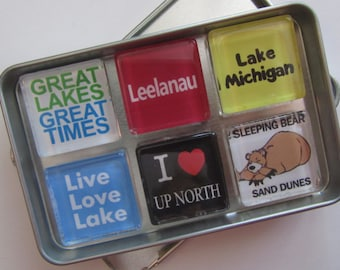LEELANAU, Michigan, M22, Manitou Islands, Up North Michigan, Michigan Magnets Set, Northwest Michigan Souvenir, Traverse City, Sleeping Bear