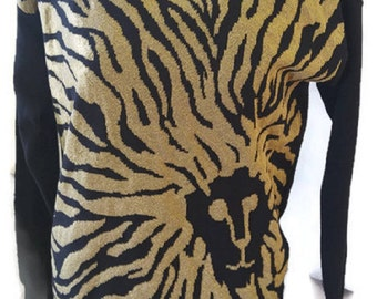 Anne Klein Lion Sweater Gold and Black Vintage Long Sleeve Pullover