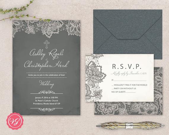 Christian Wedding Invitation Cards Wordings: DIY Christian Wedding Invitation & RSVP Kit Vintage Grey