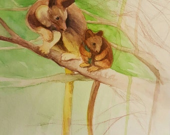 "9 in. X 12 in. ""Deforestation of the Endangered Tree-Kangaroo,"" Watercolor, 2016"