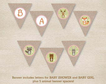 Pink Woodland Animal Baby Shower Banner / Woodland Baby Shower / Girl Forest Animals / Printable INSTANT DOWNLOAD A209