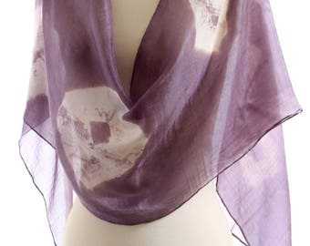 violet silk scarf heather naturally dyed shawl light purple shibori long silk scarf hand dyed Christmas gift eco dyed birthday wedding gift