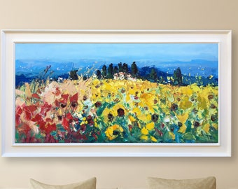 Landscape Painting Country Painting Tuscany Painting Country Kitchen Decor Sunflower Art Landscape Art Country Wall Decor Field Painting