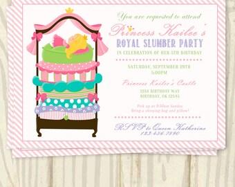 Princess and the Pea Birthday Party Invitation - 5x7
