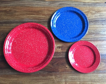 Enamelware Plates • 3 Piece Set • Red White and Blue • Camping / Picnic Plates • Glamping