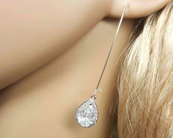 Long Teardrop Earrings, Crystal Pendant Earrings, Bridesmaid Earrings, Silver Long Earrings, Long Dangle Earrings Crystal, Dainty Earrings
