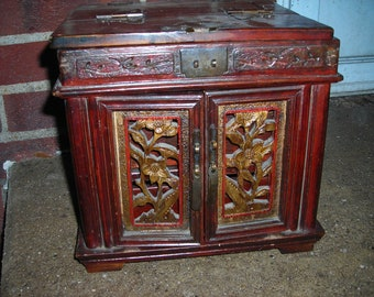 antique Chinese jewelry box wood carved