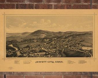 Vintage Jewett Photo, Jewett Map, Aerial Jewett Photo, Old Jewett Map, Jewett Artist Rendering, Jewett Poster, CT Artwork