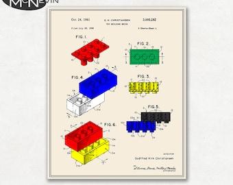LEGO BUILDING BRICK Patent, Vintage Fine Art Print Poster, Colour, Blueprint, or Black and White