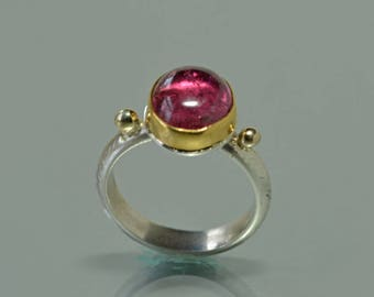 Pink Tourmaline Ring, Large Tourmaline Crystal Ring, 18k Gold and Silver Ring, Rubellite Cocktail Ring, October Birthstone, Made to Order