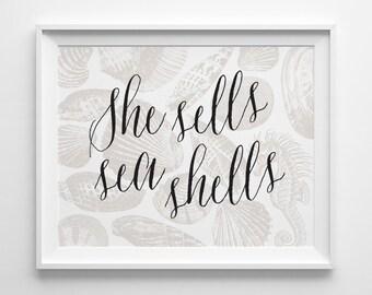 She Sells Seashells Print, Beach Decor, Shell Art, Neutral Beach House Decor, Sea Horse Art, She Sells Sea Shells Black and Beige Summer Art
