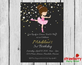 Ballerina Birthday Invitation, Ballerina Invitation, Ballerina Party Invitation, Ballet Birthday Invitation, Custom Invitation