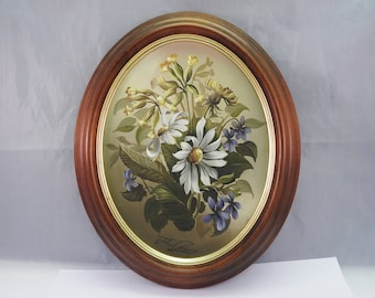 Signed John Grain Life style, oil on board of flowers,framed in oval