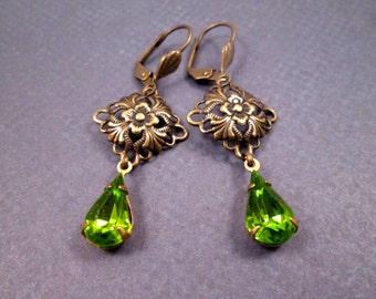 Rhinestone Drop Earrings, Bright Green Glass Stones and Brass Filigree, Dangle Earrings, FREE Shipping U.S.