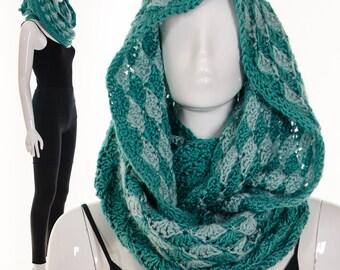Turquoise Hood Burningman Hood Burning man festival scarf rave raver knit Infinity Scarf Loop Wrap Hood Versatile