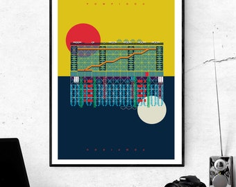 The Pompidou Centre Paris Art Print - Matte and Giclee Posters. Gifts for Architects - French Architecture - Brutalist Architecture Prints
