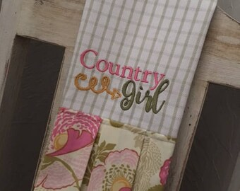 Country Girl Dish Towel - Kitchen Towel - Hand Towel - Embroidered Tea Towel with Ruffle
