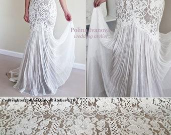 Boho Wedding Dress, Lace Wedding Dress, Flowy Wedding Dress, Champagne Wedding Dress, Keyhole Back Wedding Dress, Rustic Wedding Dress