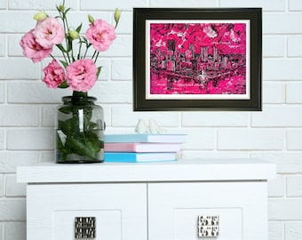 Pink wall art, Hot Pink, Pink Pittsburgh, Pittsburgh Skyline art, Print by Johno Prascak, Johnos Art Studio