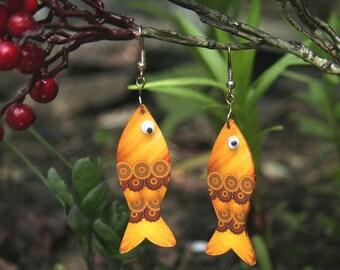 Gold fish earrings, Yellow earrings, Mermaid earrings, sea lover, animal lover, Christian earrings, Golden earrings, gold fish jewelry