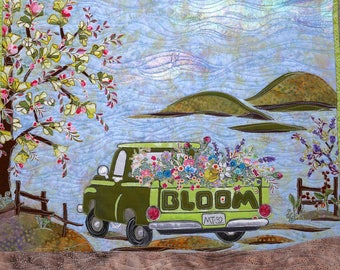 PAPER PATTERN for a COLLAGE style Quilt Pick Me Up Blooms Wall hanging Spring Flowers Green Vintage Truck Farm Tula Pink  Grunge