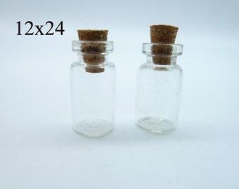 10pcs 12x24x6mm claro pequeño que deriva botella frascos colgantes con Corchos libre gancho de ojo encanto colgante de vidrio c4444