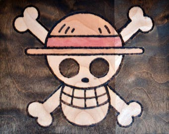 Straw Hat Jolly Roger Wood Burned Art