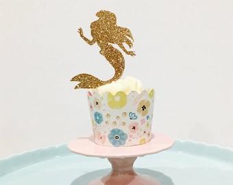 12ct Ariel cupcake toppers, 12ct disney princess cupcake topper, disney cupcake toppers, Little mermaid cupcake topper, Mermaid cupcake