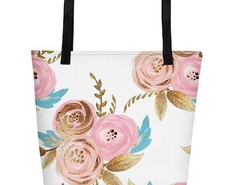 Blush and Gold Floral Beach Bag