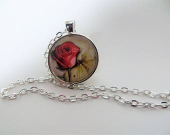 Single red rose, 1 inch Pendant, silver tone, necklace, 24 inch rolo chain, gift for her