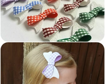 Gingham School Hair Bows, Summer, Hair Clip, Bobble, Checked, Burgundy,Red,Green,Blue,Lilac,Back to School,Glitter  Uk