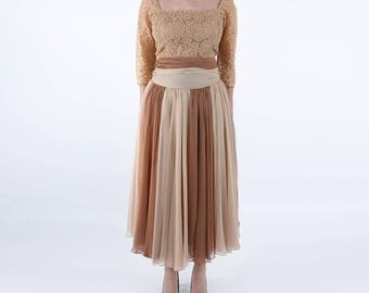 1950s Two Tone Brown Dress
