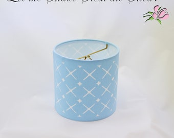 Drum Lampshade with Crosshatch Crisscross Pattern Cut into Light Blue Fabric, 6 inch Clip on Lamp Shade | Unique Blue Geometric Lamp Shade