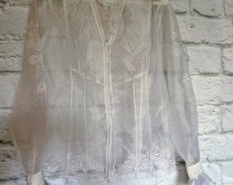 Vintage Sheer White Blouse with Buttons and Ruffles