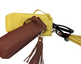 Leather Pouch Sunglasses Case with Fringe