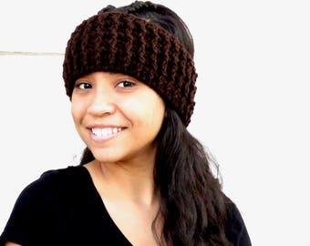 Crochet Headband, Crochet Ear Warmer, Women,Teen, Ready To Ship, Chocolate,